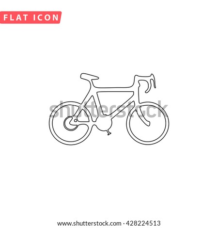 Bicycle. Black outline simple pictogram on white. Line icon - stock photo