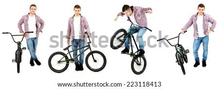 Bicycle collage. Boy on BMX bike isolated on white - stock photo