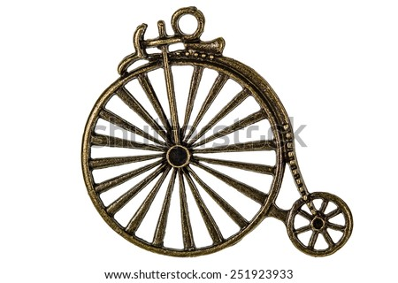 Bicycle, decorative element for manual work, isolated on white background - stock photo