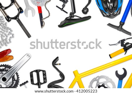 bicycle frame with parts isolated on white background - stock photo