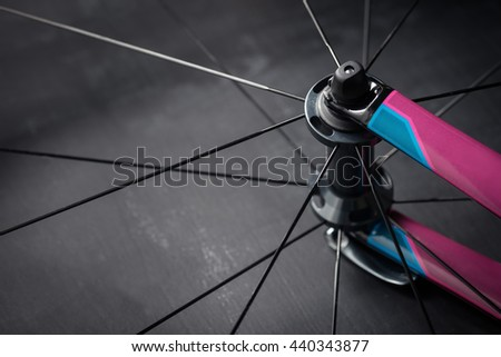 Bicycle front wheel - stock photo