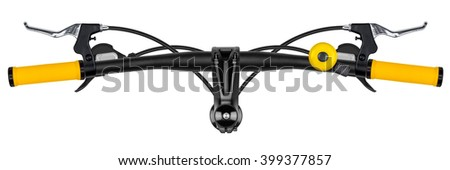 bicycle handlebar with yellow grips isolated on white background - stock photo