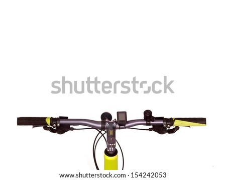 Bicycle handlebars isolated against a plain backgroubd - stock photo