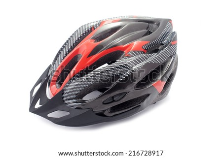 bicycle helmet on white background - stock photo