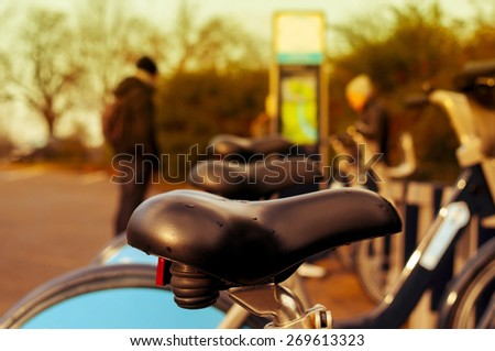 bicycle hire in Hyde Park in London, United Kingdom - stock photo