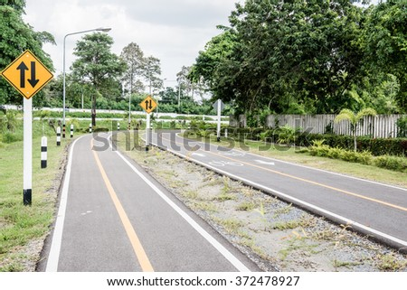 Bicycle lane in Chiangmai city, Thailand. - stock photo