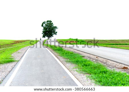 Bicycle lanes at parks, county road - stock photo