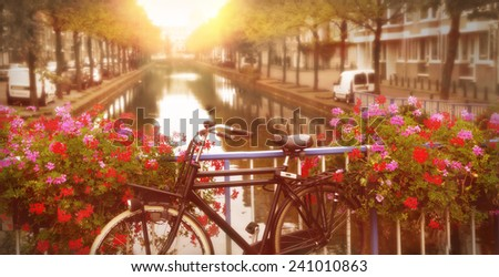 bicycle on a bridge with blooming flowers in TheHague, netherlands - stock photo
