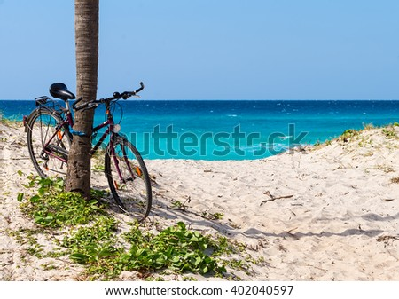 Bicycle on beach  - stock photo
