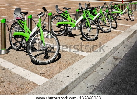 Bicycle parking on the streets of Tel Aviv in Israel - stock photo