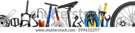bicycle parts panorama isolated on white background - stock photo