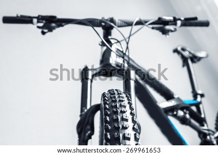 bicycle parts profile front tire steering wheel front shock absorber - stock photo