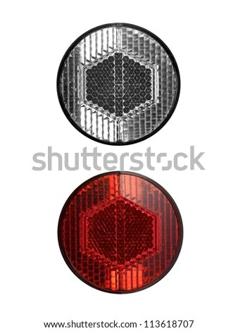 Bicycle reflectors isolated against a white background - stock photo
