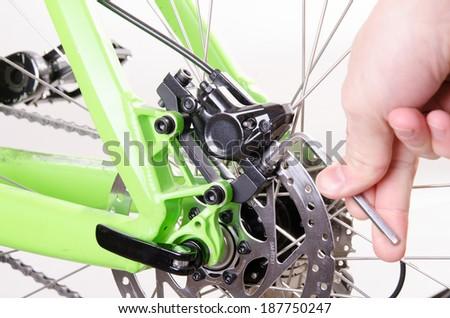 bicycle repair bicycle or preparing for the season, Set the brake - stock photo