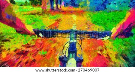 Bicycle ride pov acid colors psychedelic painting - stock photo