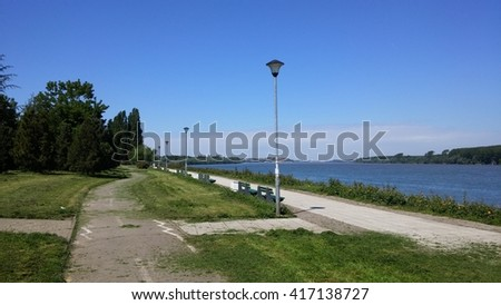 Bicycle road by Danube river in Belgrade - stock photo