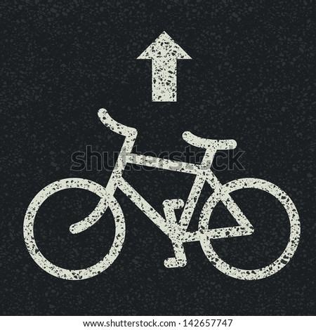 Bicycle road sign and arrow on asphalt background. Raster version, vector file available in portfolio. - stock photo
