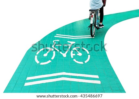Bicycle road sign and part of bike rider, part of cyclist in motion isolated on white background - stock photo