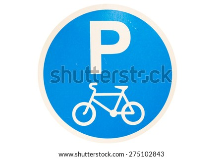 Bicycle Road Sign isolated on white - stock photo
