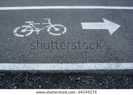 Bicycle sign, Bicycle Lane - stock photo
