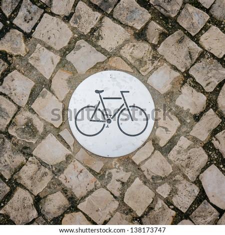 Bicycle sign on bicycle lane - stock photo