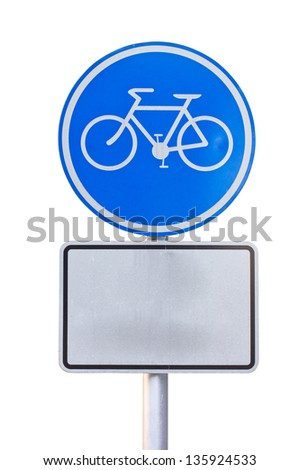 Bicycle sign plate isolated on white. - stock photo
