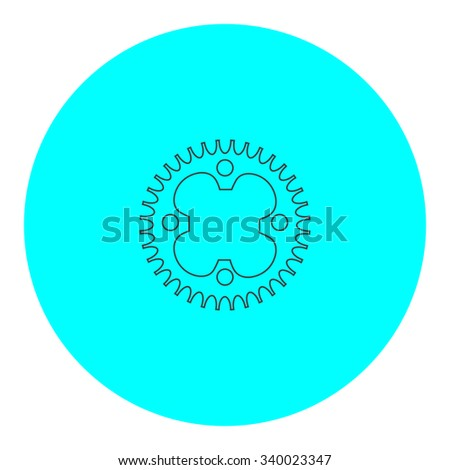 Bicycle sprocket. Black outline flat symbol on blue circle. Simple illustration pictogram on white background - stock photo