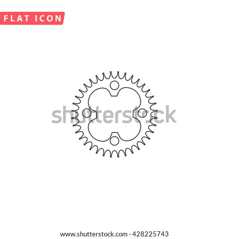 Bicycle sprocket. Black outline simple pictogram on white. Line icon - stock photo