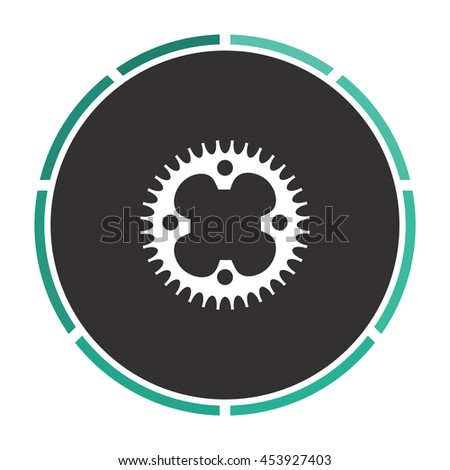 Bicycle sprocket. Circle button on black background - stock photo