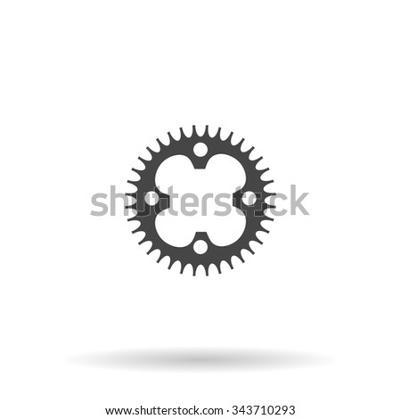 Bicycle sprocket. Flat icon on grey background with shadow - stock photo