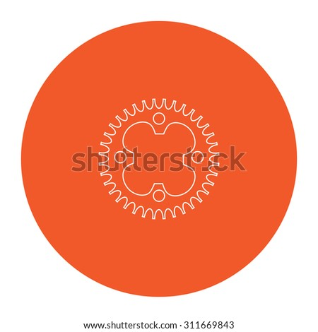 Bicycle sprocket. Flat white symbol in the orange circle. Outline illustration icon - stock photo