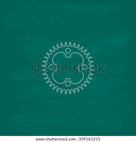 Bicycle sprocket. Outline icon. Imitation draw with white chalk on green chalkboard. Flat Pictogram and School board background. Illustration symbol - stock photo