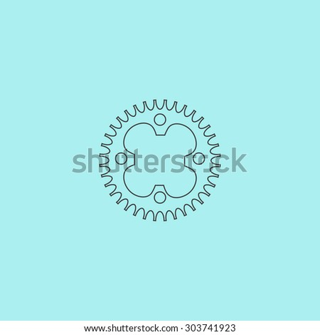 Bicycle sprocket. Outline simple flat icon isolated on blue background - stock photo