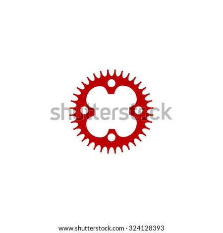 Bicycle sprocket. Red flat icon. Illustration symbol on white background - stock photo