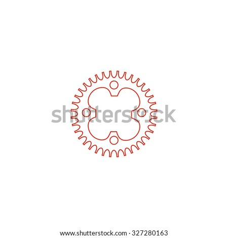 Bicycle sprocket. Red outline illustration pictogram on white background. Flat simple icon - stock photo