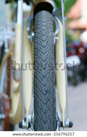 Bicycle tire close up  - stock photo