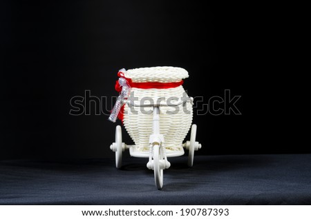 Bicycle toys with light and the scene is black isolated - stock photo