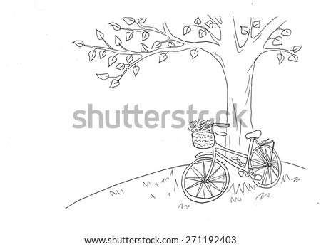 Bicycle under the tree illustration. Summer time. Dream big. - stock photo