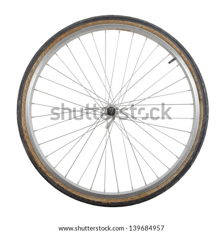 Bicycle wheel isolated on white background - stock photo