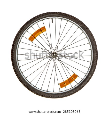 Bicycle wheel with two orange reflectors on spikes isolated over white - stock photo