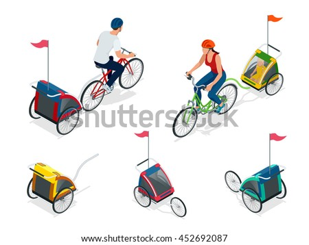 Bicycle with child carrier. Isometric Bicycle. Family Cyclists. - stock photo