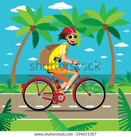 Bicycler is traveling on the road in the tropics with backpack and camera | raster version - stock photo
