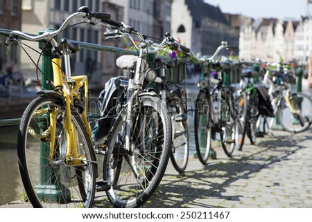 Bicycles in Ghent, Belgium - stock photo