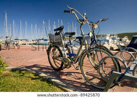 Bicycles in the marina - stock photo