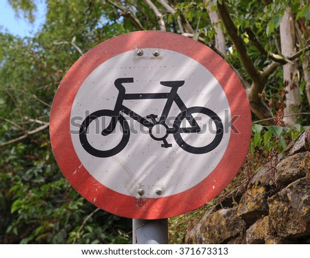 Bicycles not Permitted Road Sign in the Rural Village of Montacute in Somerset, England, UK - stock photo