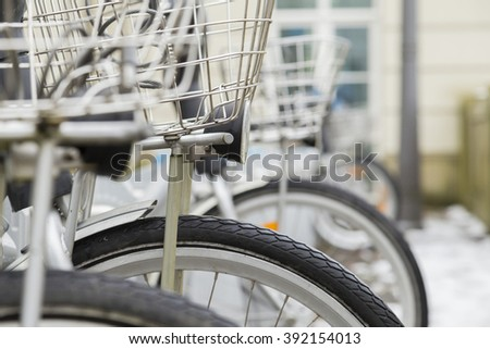 bicycles on the street - stock photo