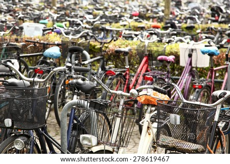Bicycles parking lot - stock photo