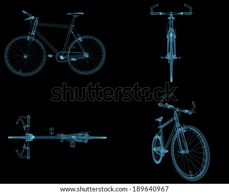 Bicycles x-ray blue transparent isolated on black - stock photo