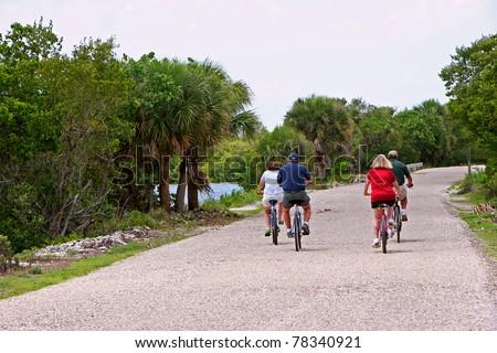 Bicycling Ding Darling Wildlife Refuge Sanibel Florida - stock photo