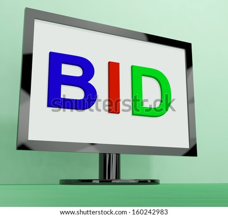 Bid On Monitor Showing Bidding Or Auction  - stock photo